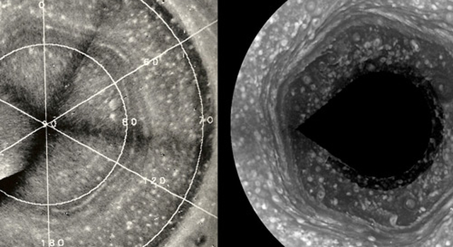 Images of the hexagon weather pattern around Saturn's north pole
