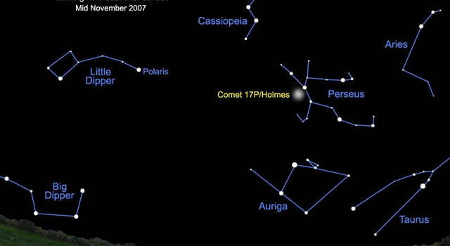 night sky chart showing comet Holmes