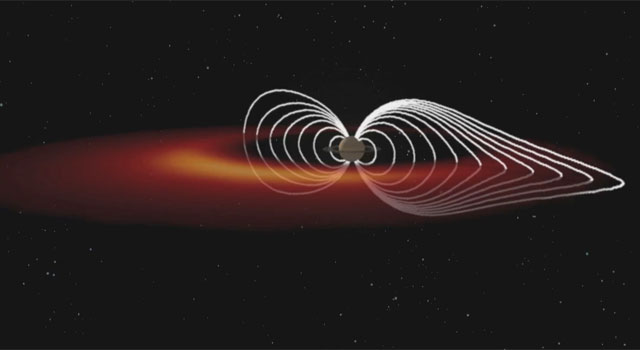 This is an artist's concept of the Saturnian plasma sheet based on data from Cassini magnetospheric imaging instrument.