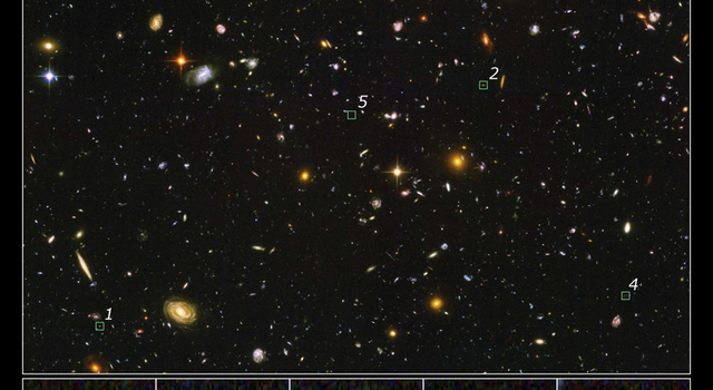 Hubble Ultra Deep Field, with several objects identified as faintest, most compact