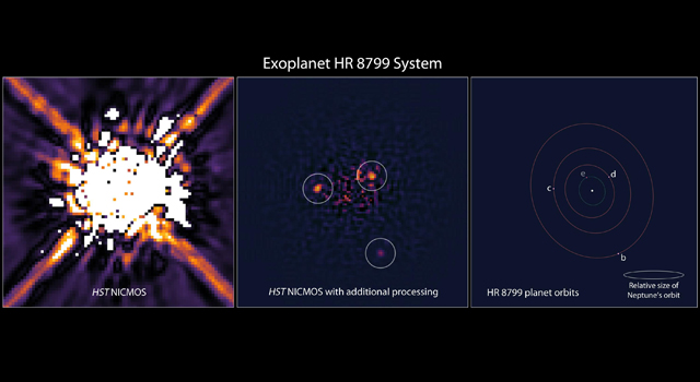 The left image shows the star HR 8799 as seen by Hubble's Near Infrared Camera and Multi-Object Spectrometer in 1998.