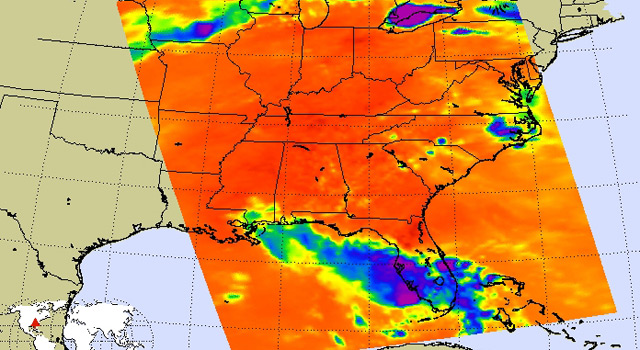 Thermal infrared image of Tropical Storm Bonnie