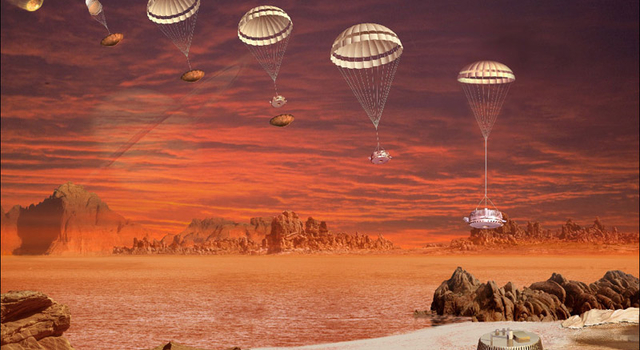 Artist concept showing the descent and landing of Huygens.