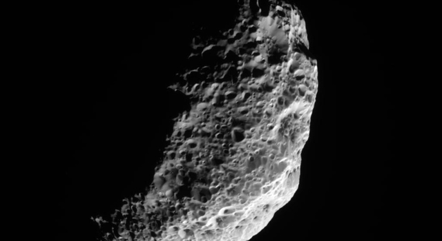 NASA's Cassini spacecraft obtained this raw image of the Saturnian moon Hyperion on Nov. 28, 2010.
