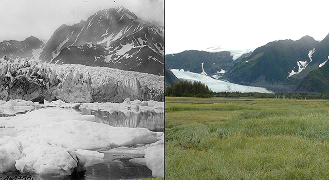 The retreat of Pedersen Glacier, Alaska. Left: summer 1917. Right: summer 2005.