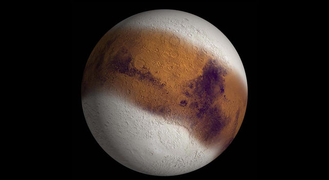 This simulated view shows Mars as it might have appeared during the height of a possible ice age in geologically recent time.