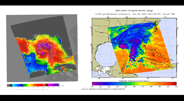 These side-by-side images show the wind speed, direction, and strength of tropical storm Ida.