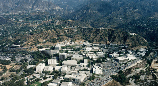 Aerial view of JPL's main facility near Los Angeles