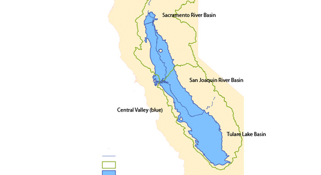 The combined Sacramento and San Joaquin River Basins.