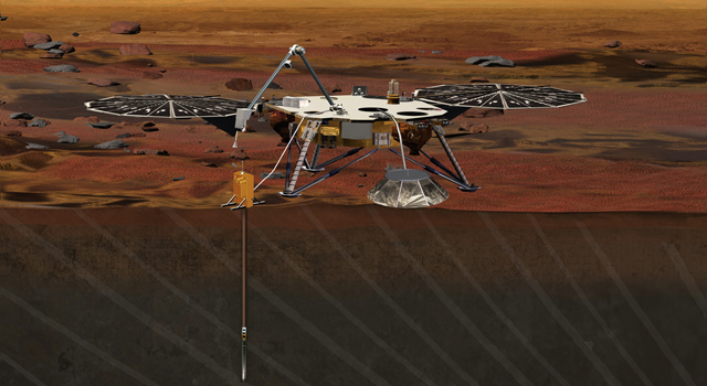 Artist rendition of the proposed InSight (Interior exploration using Seismic Investigations, Geodesy and Heat Transport) Lander.