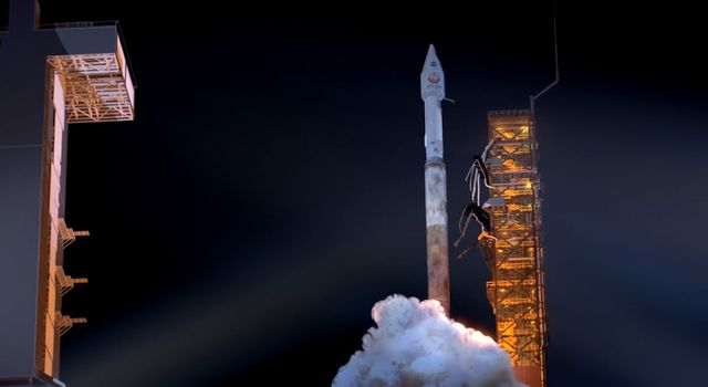 An artist's rendering of a rocket launching with the InSight spacecraft later this May