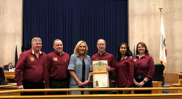 L.A. County Supervisor Kathryn Barger (center) presented the proclamation to the InSight team