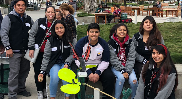Students from the Los Angeles High School's Wild Cats team