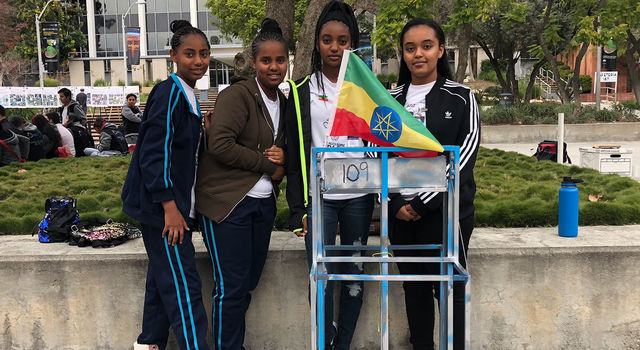 Middle and high school students on the Ethiopia Freefall team