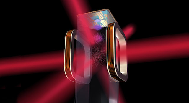Artist's concept of a magneto-optical trap and atom chip to be used by NASA's Cold Atom Laboratory (CAL) aboard the International Space Station