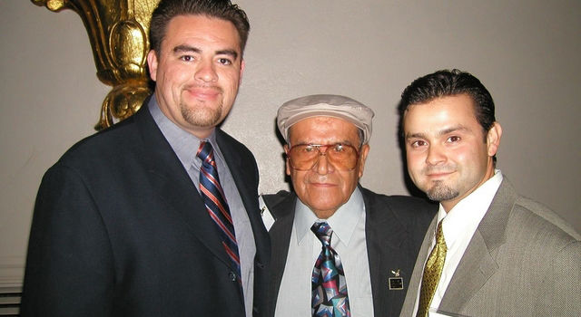 Thomas Valdez, Jaime Escalante and Sergio Valdez pose for a photo