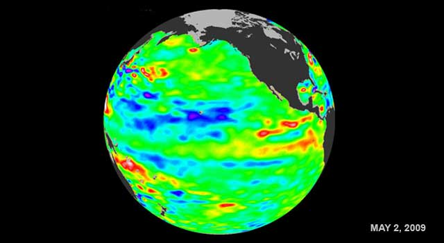 latest image of sea surface temperatures from NASA's Jason-1 satellite