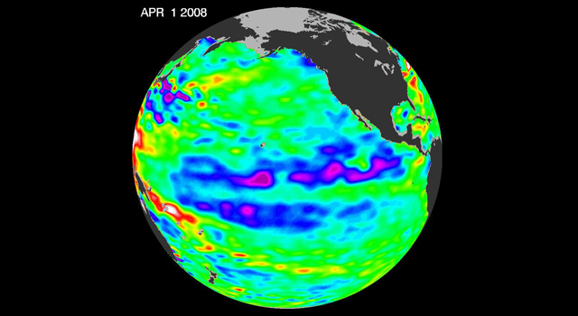 Jason data showing La Nina
