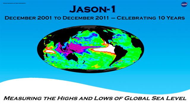 The NASA/French Space Agency Jason-1 satellite celebrates 10 years in orbit this week