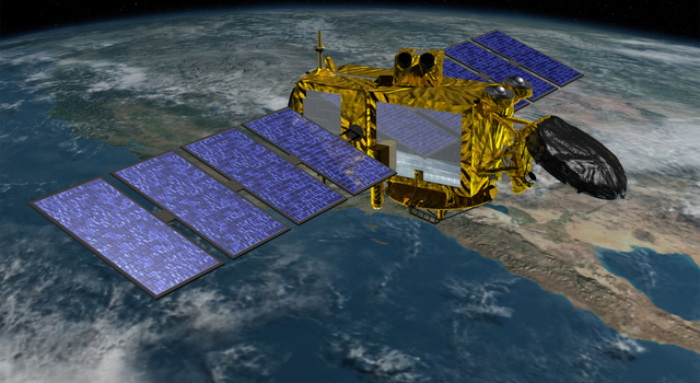 Artist's concept of the U.S./European Jason-3 spacecraft over the California coast.