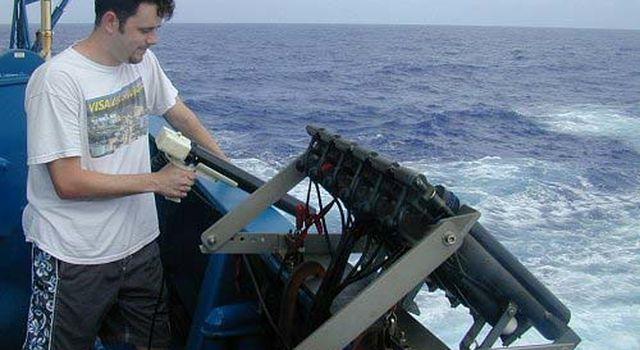 Dr. Josh Willis aboard a ship