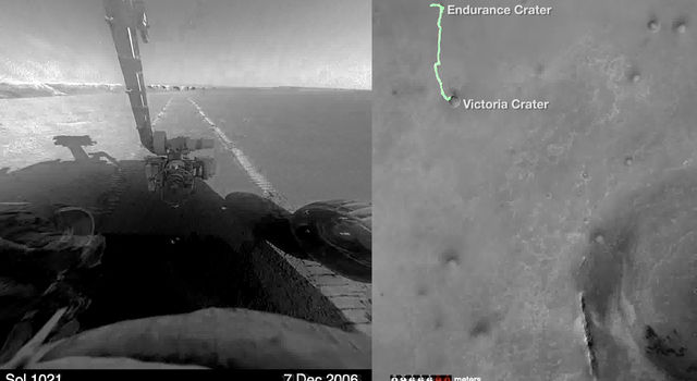 Road trip! This compilation of images from hazard-avoidance cameras on NASA's Mars Exploration Rover Opportunity