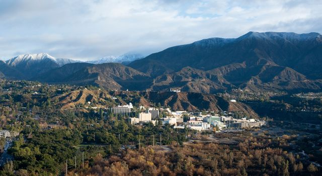 Photo of NASA's Jet Propulsion Laboratory nestled in the Pasadena, CA. hillside.