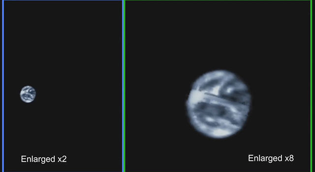 Earth and Moon Seen by Passing Juno Spacecraft
