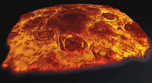Infrared 3-D image of Jupiter's north pole