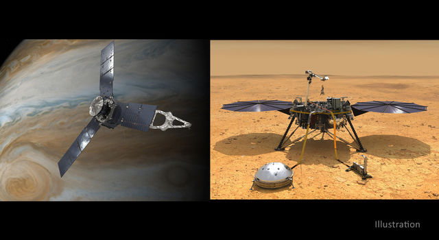 NASA has extended both the Juno mission at Jupiter through September 2025 (left) and the InSight mission at Mars through December 2022