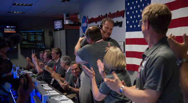 Juno team celebrates at NASA's Jet Propulsion Laboratory in Pasadena, California