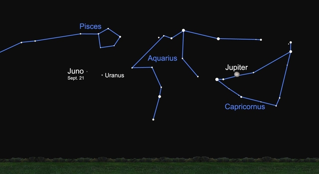 Sky chart of Juno's location on September 21, 2009