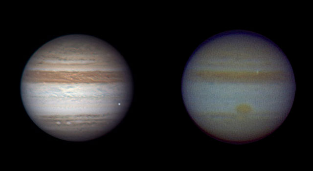 A fleeting bright dot on each of these images of Jupiter marks a small comet or asteroid burning up in the atmosphere.
