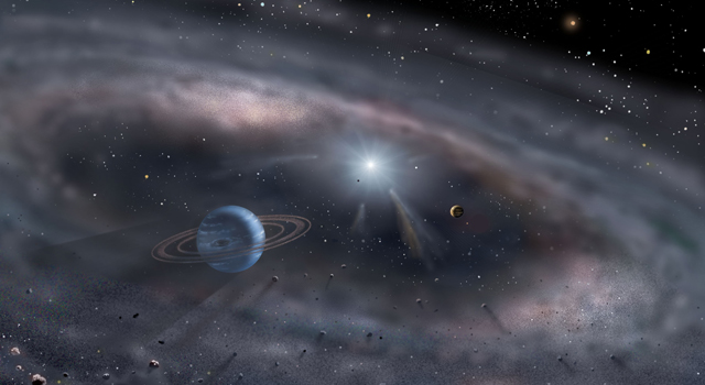 Planets form around a young star in this artist's concept. Using the Keck Interferometer in Hawaii, astronomers have probed the structure of a dust disk around MWC 419 to within 50 million miles of the star. Credit: David A. Hardy/www.astroart.org
