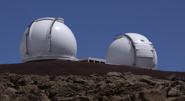 two Keck 10-meter (33 feet) telescopes