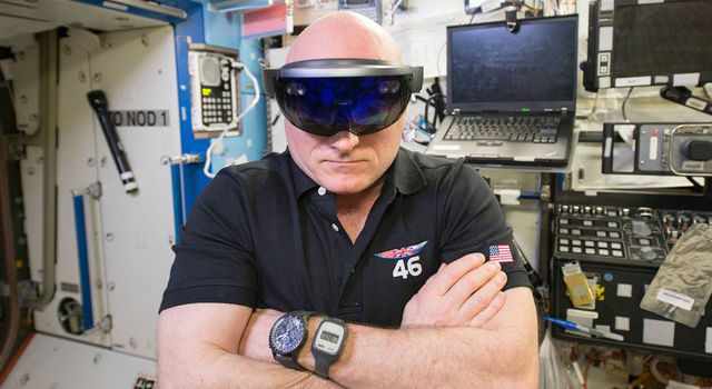 NASA astronaut Scott Kelly wears a Microsoft HoloLens