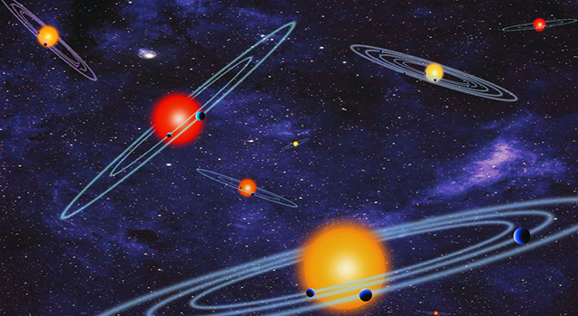 The artist concept depicts multiple-transiting planet systems