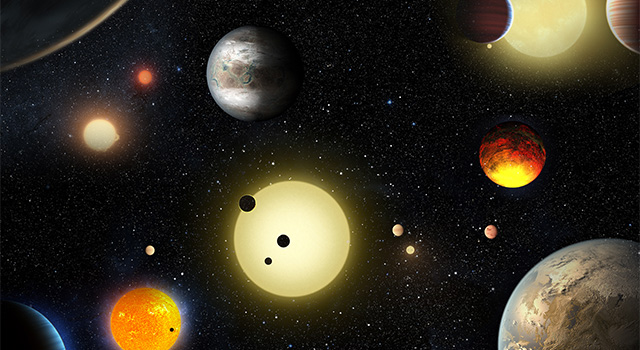 The image is a concept piece depicting select Kepler planetary discoveries made to date.