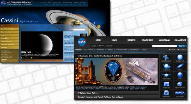 Cassini and NASA sites