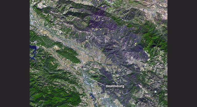 A large burn scar can be seen from space where the Kincade Fire has burned through Sonoma County, California.