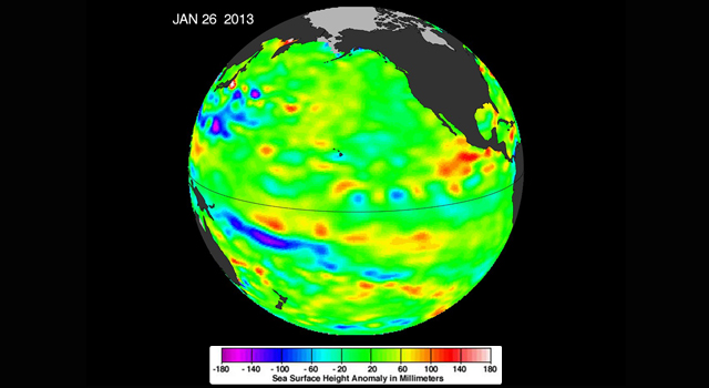 The latest image of sea surface heights in the Pacific Ocean from NASA's Jason-1 satellite