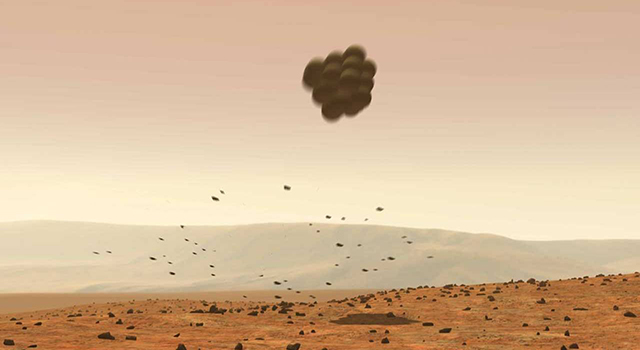 Illustration depicts how each of the twin Mars rovers Spirit and Opportunity landed on Mars