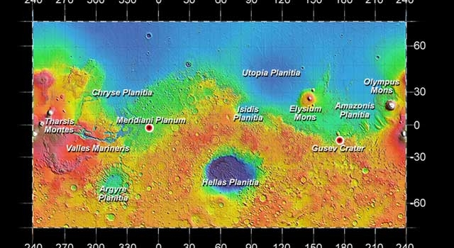 Odyssey image showing rover landing sites and other locations on Mars