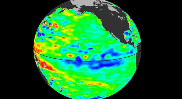 The latest image of sea surface heights in the Pacific Ocean from  NASA's Jason-2 satellite