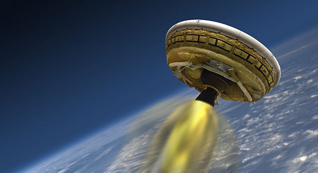 This artist's concept shows the test vehicle for NASA's Low-Density Supersonic Decelerator (LDSD), designed to test landing technologies for future Mars missions.