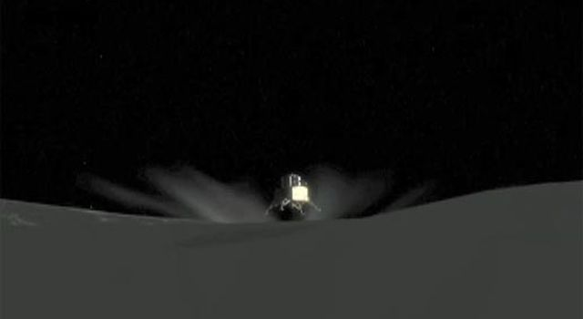 artist concept of spacecraft landing on moon