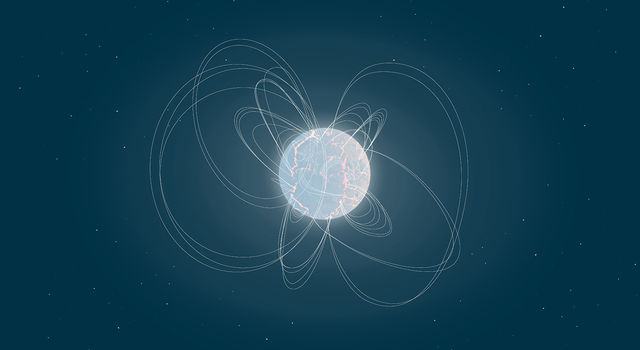 This illustration shows magnetic field lines protruding from a highly magnetic neutron star