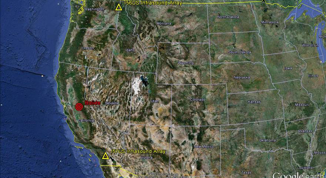 Red bullseye indicates location where Sunday's meteor (or bolide) exploded over California's Central Valley.