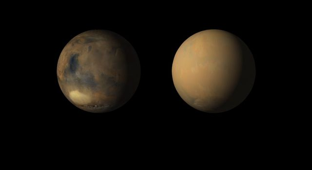 Side-by-side movies shows how dust has enveloped the Red Planet, courtesy of the Mars Color Imager (MARCI) wide-angle camera onboard NASA's Mars Reconnaissance Orbiter (MRO).