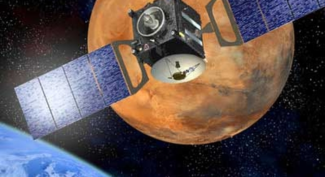 artist's concept of Mars Express; image credit: ESA J-L Atteleyn